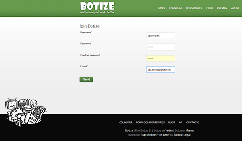 Registro en Botize