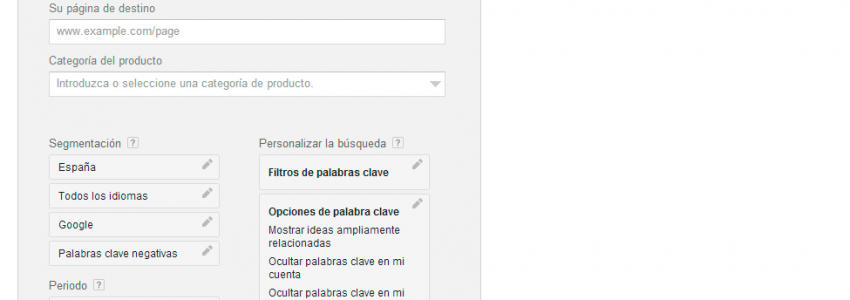 Planificador de keywords Google AdWords