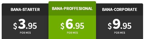Precios Webhosting de Banahosting