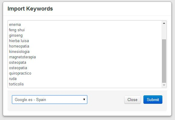 Importar Keywords en Keyword Revealer Tool