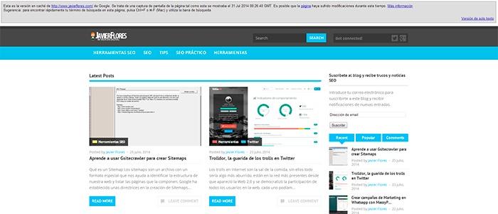 Cache del dominio javierflores.com
