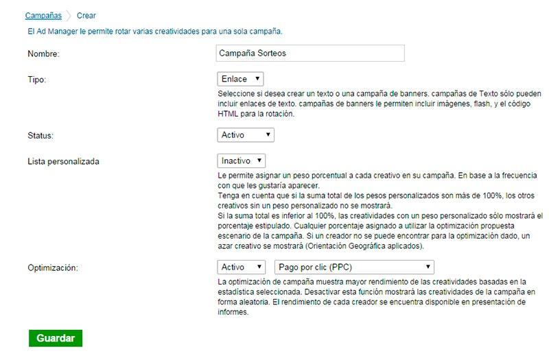 Formulario creación campaña Adtual