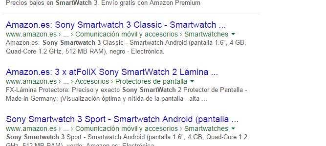 Búsqueda Amazon en Google