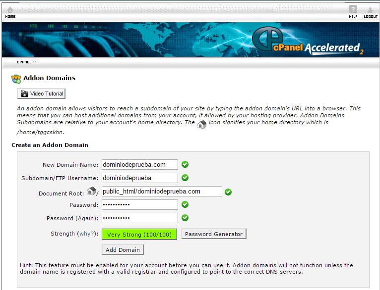 Configurar dominio en cPanel