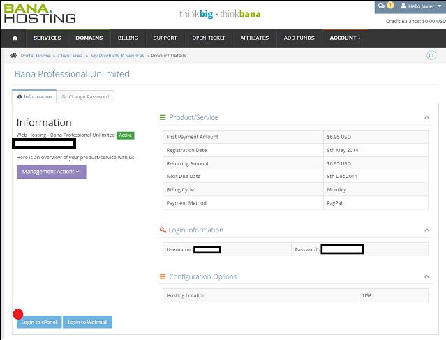Panel de control hosting