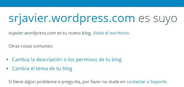 Paso final al crear el blog en WordPress
