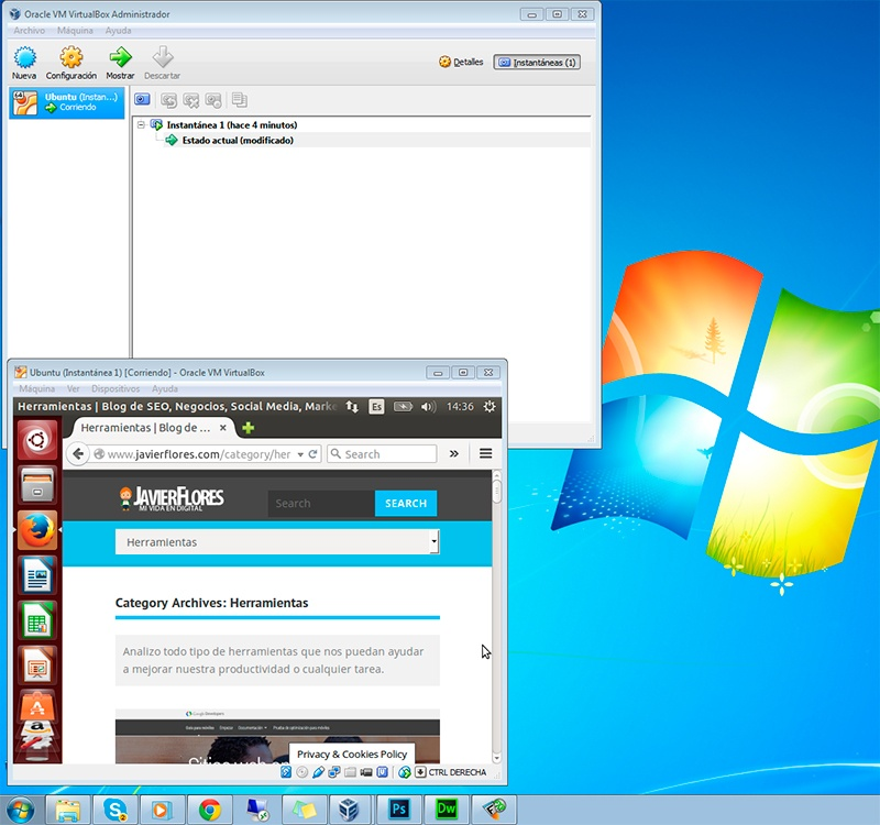 Ubuntu corriendo en VirtualBox